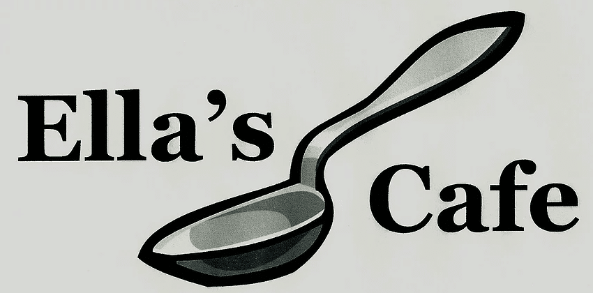 image of grey sign for ellas cafe sign and spoon