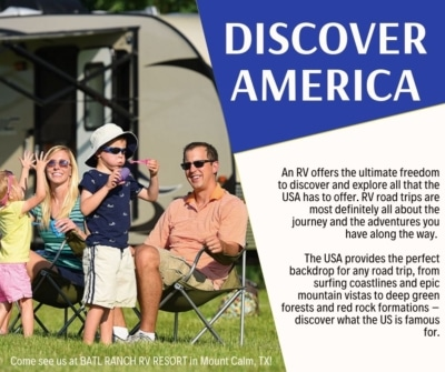 discover america post with family near rv